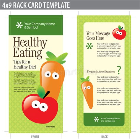 free template for 4x9 rack card 4x9 rack card brochure template stock vector