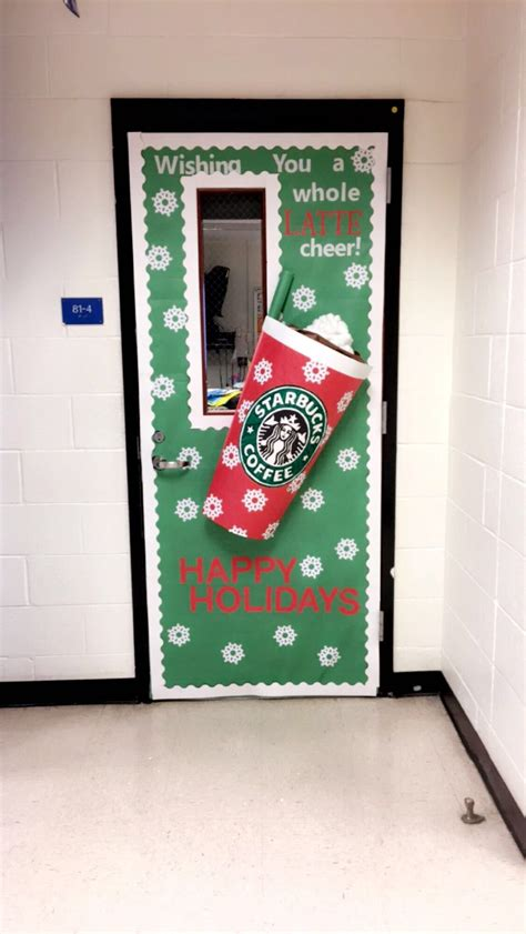 christmas doors classroom my starbucks inspired classroom door lifeofateacher my classroom ideas