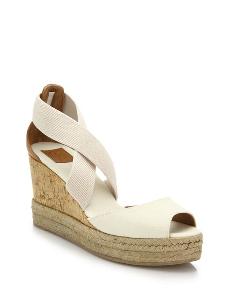 burch canvas cork espadrille wedge sandals in white