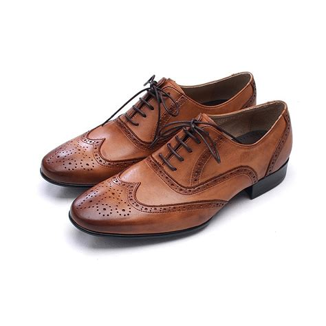 brown dress shoes mens wingtips punching leather dress shoes
