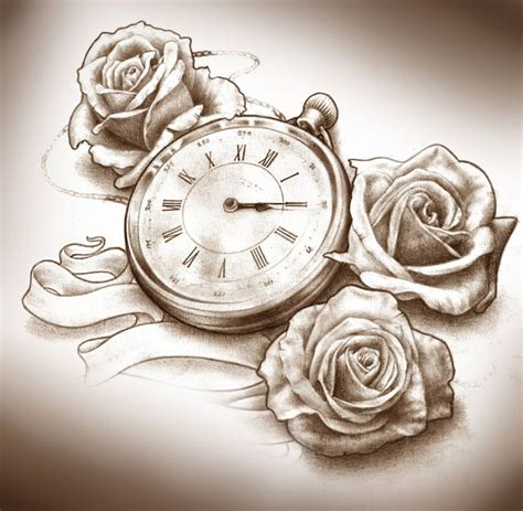 clock rose tattoo three roses and clock design