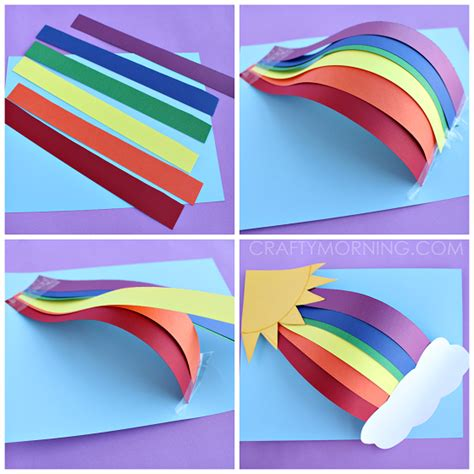 Coloured Paper Craft Ideas - 3d paper rainbow craft crafty morning
