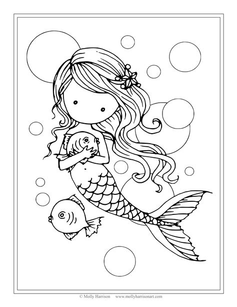 coloring page baby mermaid free mermaid with fish coloring page by molly harrison