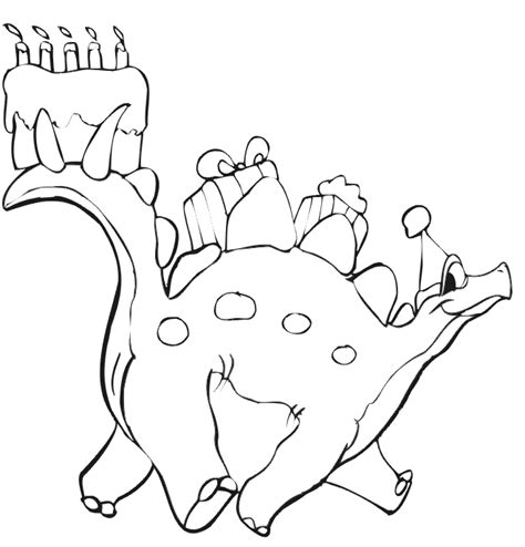 birthday dinosaur coloring page birthday coloring page a dinosaur with a cake and presents