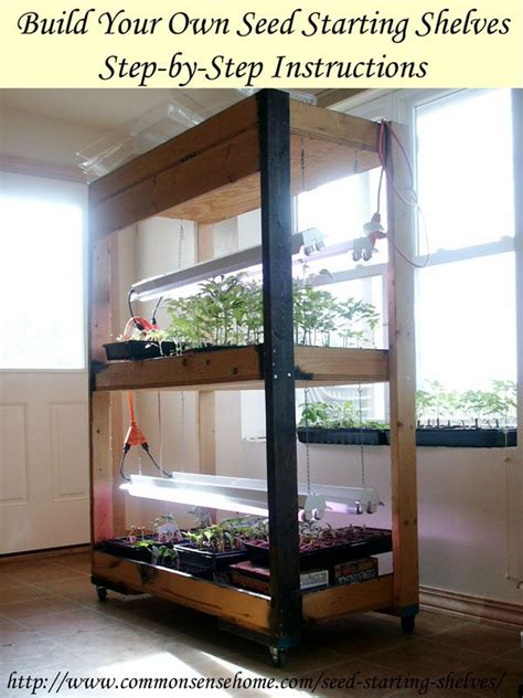build your own simple seed starting shelves grow lights