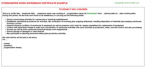 Experience Letter With Responsibilities Storekeeper Work Experience Certificate