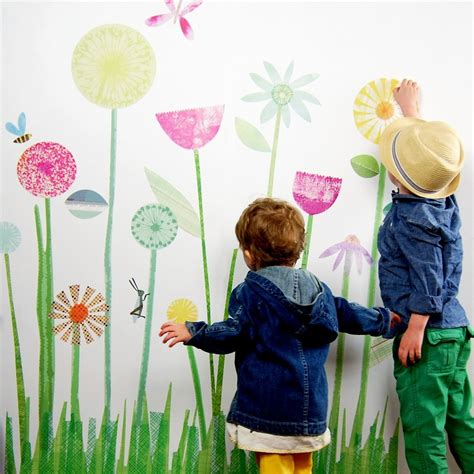 garden wall decals 3 my garden mural leafy dreams nursery decals removable