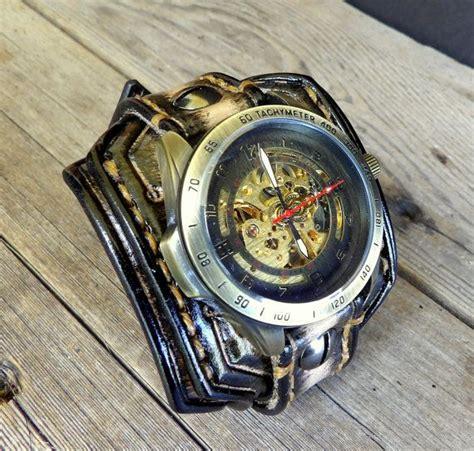 reloj brazalete cuero steunk cuero reloj brazalete hombres por