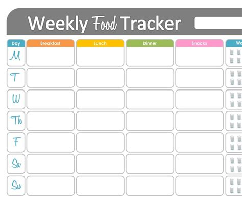 easy printable food journal weekly food tracker printable for health and fitness