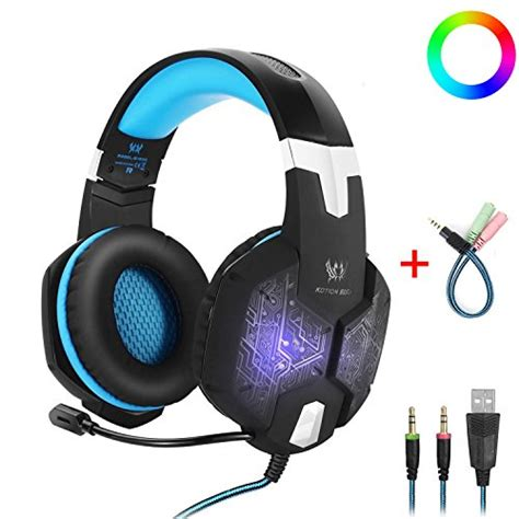 Headphone Gaming Kotion Each G1000 7 Led Color Original gaming headset with mic for pc kotion each g1000 one key mute sound clarity ear noise