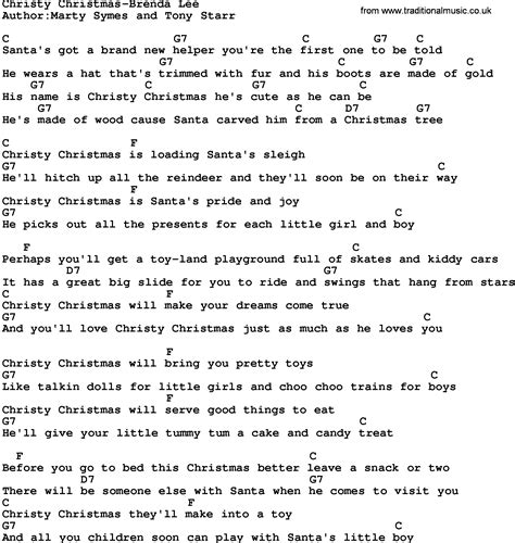 printable lyrics chords country music christy christmas brenda lee lyrics and chords
