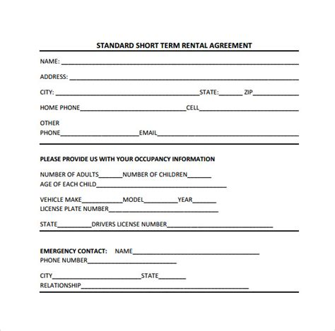 short term rental agreement sample templates