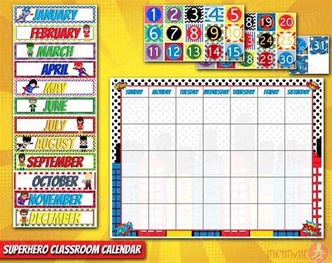 printable calendar classroom superhero classroom calendar pre school classroom