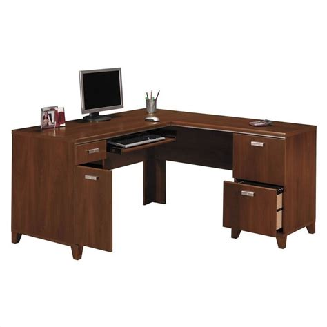 Cherry Laptop Desk Bush Tuxedo L Shape Wood Hansen Cherry Computer Desk Ebay