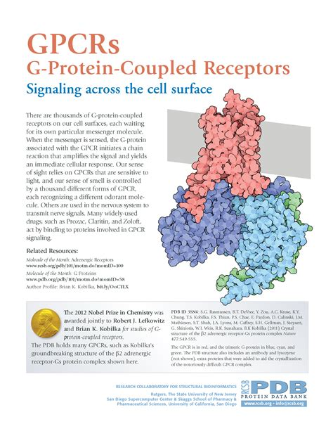PDB-101: Learn: Flyers, Posters & Other Resources: G ... G Protein Coupled Receptors Gpcrs