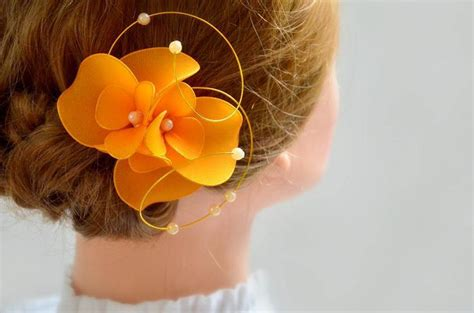 wedding hair accessories orange orange fascinator bridesmaid headpiece hair flower