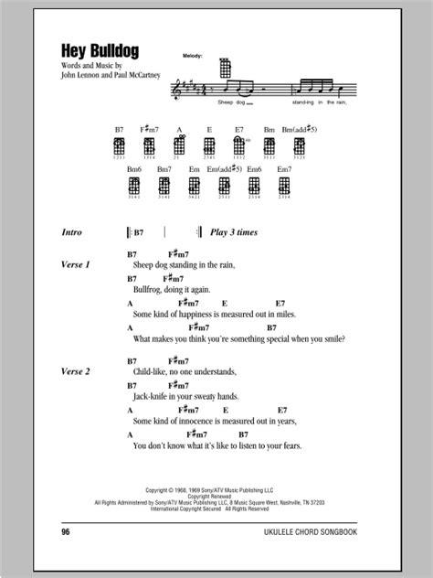 strumming pattern yellow submarine ukulele hey bulldog sheet music by the beatles ukulele with
