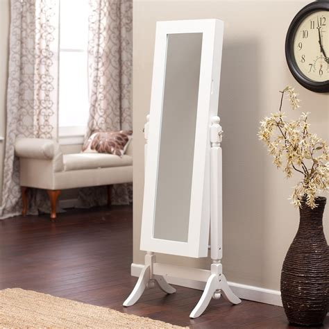 heritage jewelry armoire cheval mirror high gloss white