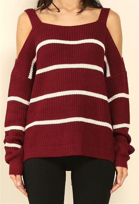 striped shoulder sweater striped open shoulder sweater shop sweaters cardigans
