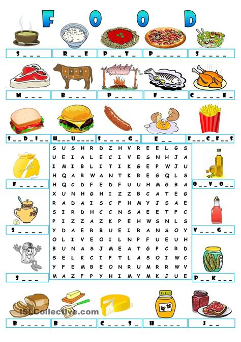 word search games english printable food wordsearch teaching the kids esl efl pinterest