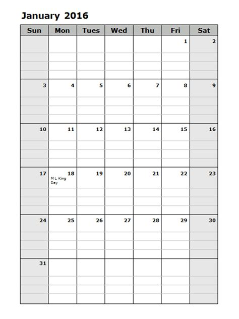 2016 monthly calendar template 15 free printable templates
