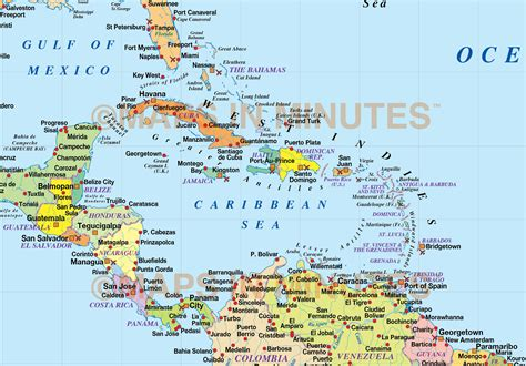 central america and the caribbean political map physical map of central america and caribbean