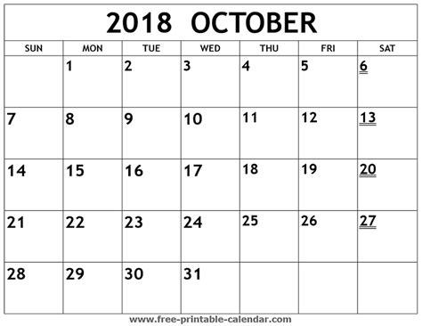 printable calendar october 2018 printable 2018 october calendar