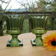 Pair of Avocado Green Pedestal Vases Wedding Decor Table