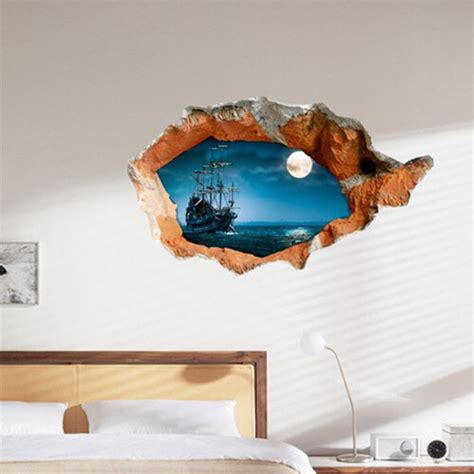 home decor 3d stickers 3d night boat wall decals wall hole wall art stickers 38