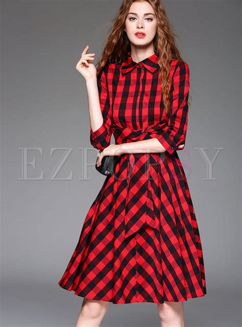 Grid Collar Dress fashion grid turn collar skater dress ezpopsy