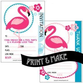 Free Printable Flamingo Themed Pool Party Invitations With Free Flamingo Themed Thank You Note Flamingo Invitation Template Free