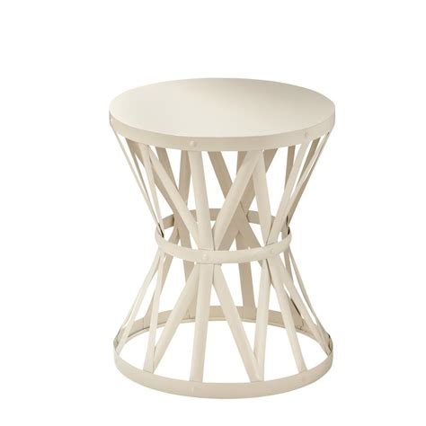 hton bay 18 9 in metal garden stool in chalk