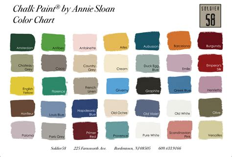 sloan chalk paint color chart chalk paint by sloan soldier58
