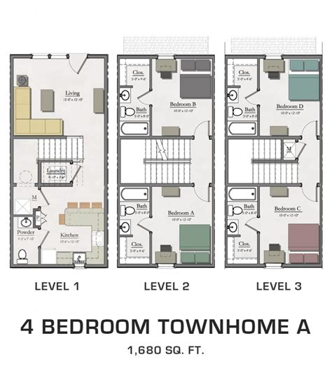town home plans 4 bedroom townhome a hannah lofts and townhomes