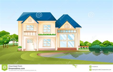 a big house a big house near the lake stock vector image 41504075