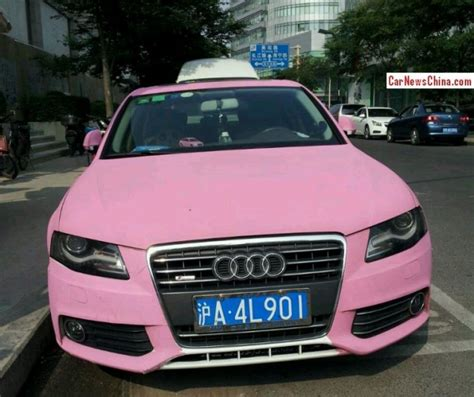 pink audi a4 audi a4l with a license is double matte pink in china