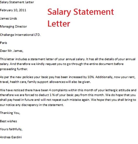 Salary Statement Letter To Bank December 2012
