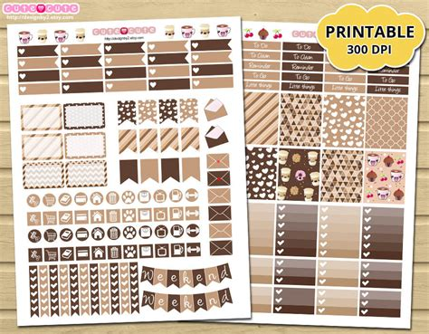 coffee planner stickers printable printable planner stickers coffee monthly kit for by designby2