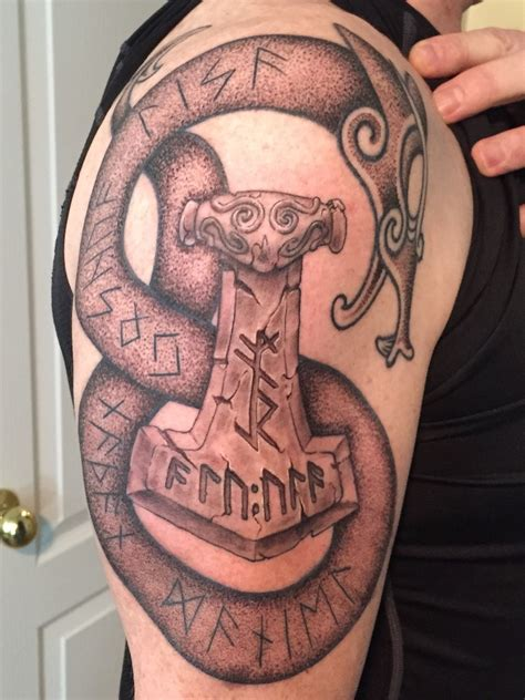 thor hammer tattoo with mjolnir thors hammar for providing