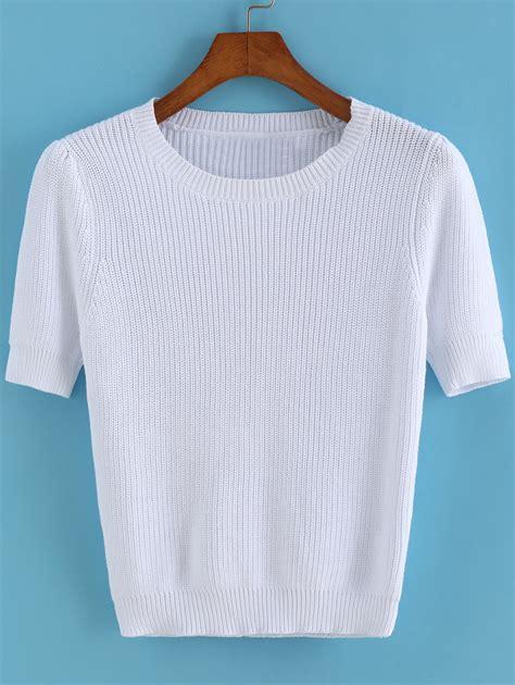 knit pattern short sleeve sweater short sleeve knit white sweaterfor women romwe