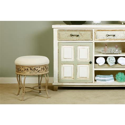 Hillsdale Clover Vanity Stool by Hillsdale Furniture Clover White Vanity Stool 50958 The