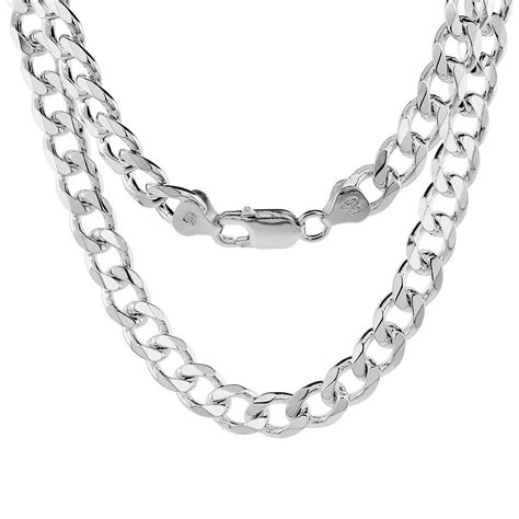 sterling silver chain for jewelry sterling silver 8mm heavy italian cuban curb link chain