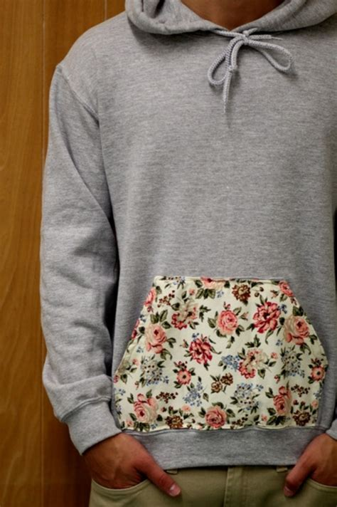 Fower Flower Sweater Hody hoodie floral pouch pocket sweatshirt white by