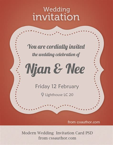 Invitation Cards Templates Free Psd by Modern Wedding Invitation Card Psd For Free