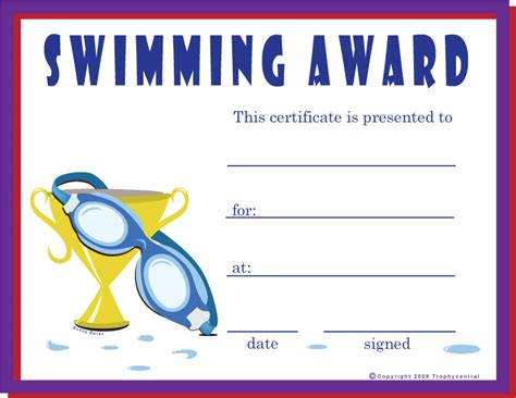 blank certificates swimming award certificate free swimming certificates certificate free swimming