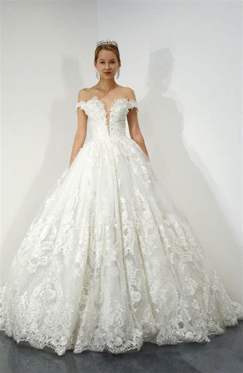 shoulder lace ball gown wedding dress kleinfeld