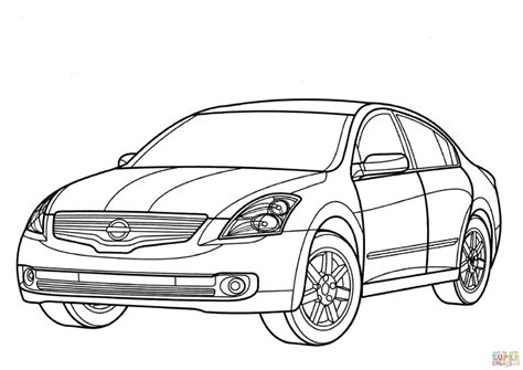 Nissan Cars Coloring Pages | nissan altima hybrid coloring page free printable coloring