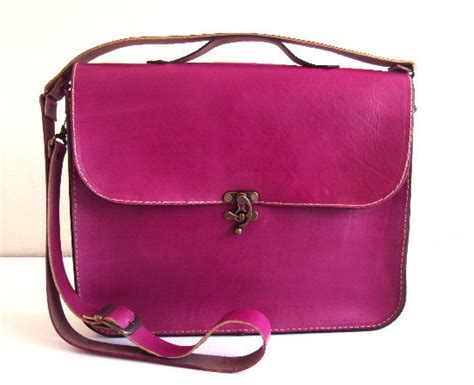 Pink Leather Laptop by Magenta Pink Leather Laptop Bag Fuchsia Leather By Ammaciyo