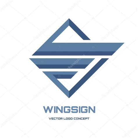 abstract geometric design elements vector abstract wing sign vector logo concept illustration