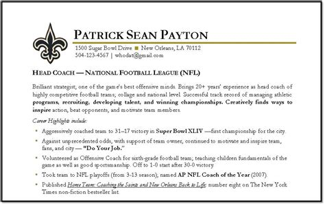 Football Coach Resume by Resume For Assistant Football Coach Images Frompo